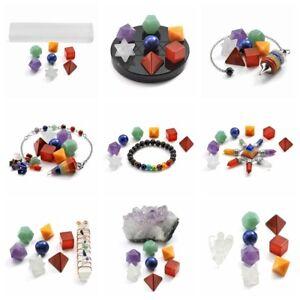 Chakra-Platonic-Solids-Geometry-Set-Bracelet-Colunm-Pendulum-Crystal-Healing-Kit