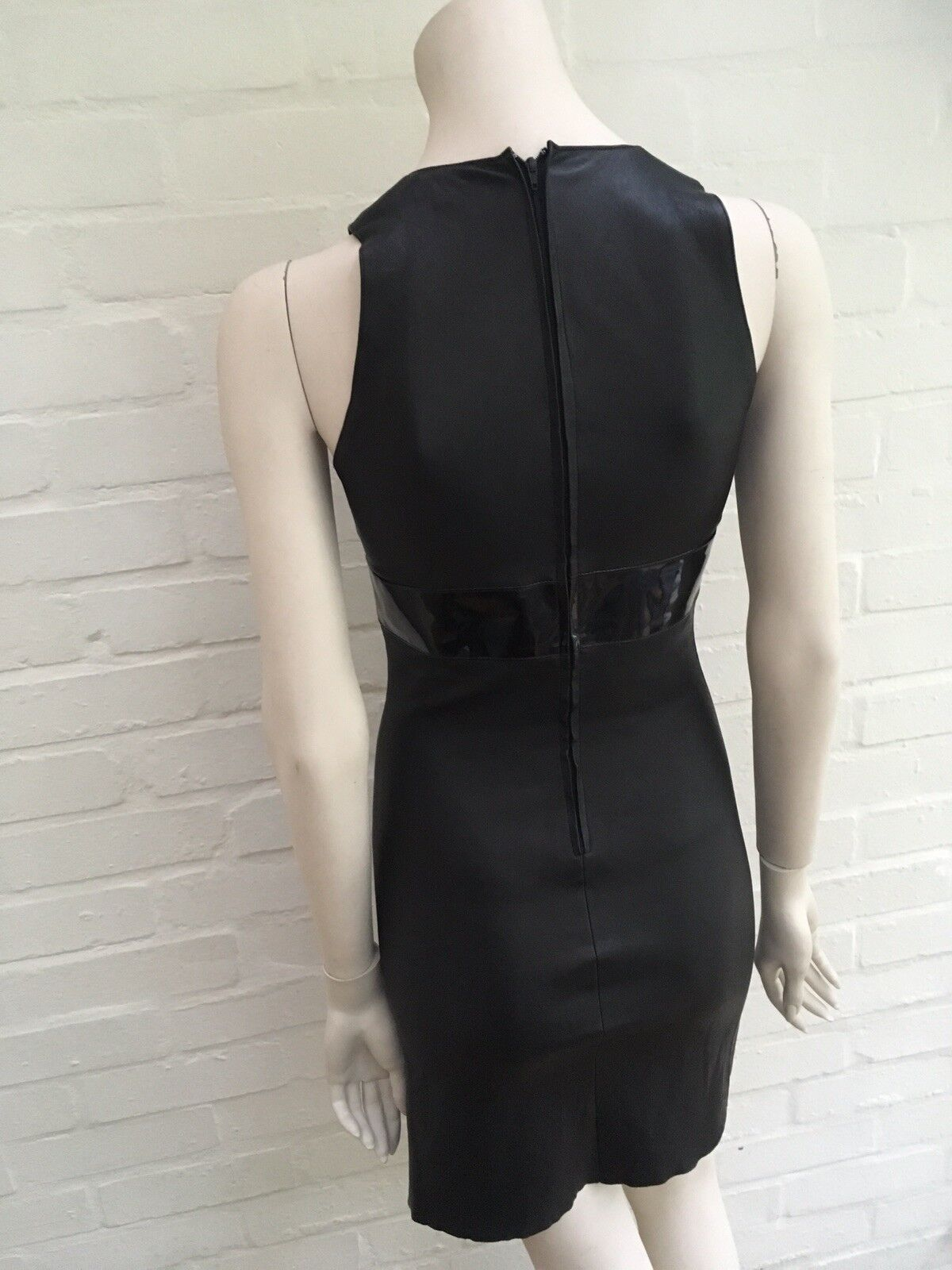 JITROIS leather leather leather bodycon mini dress patent leather trim F 36 US 4 S SMALL 49aa36