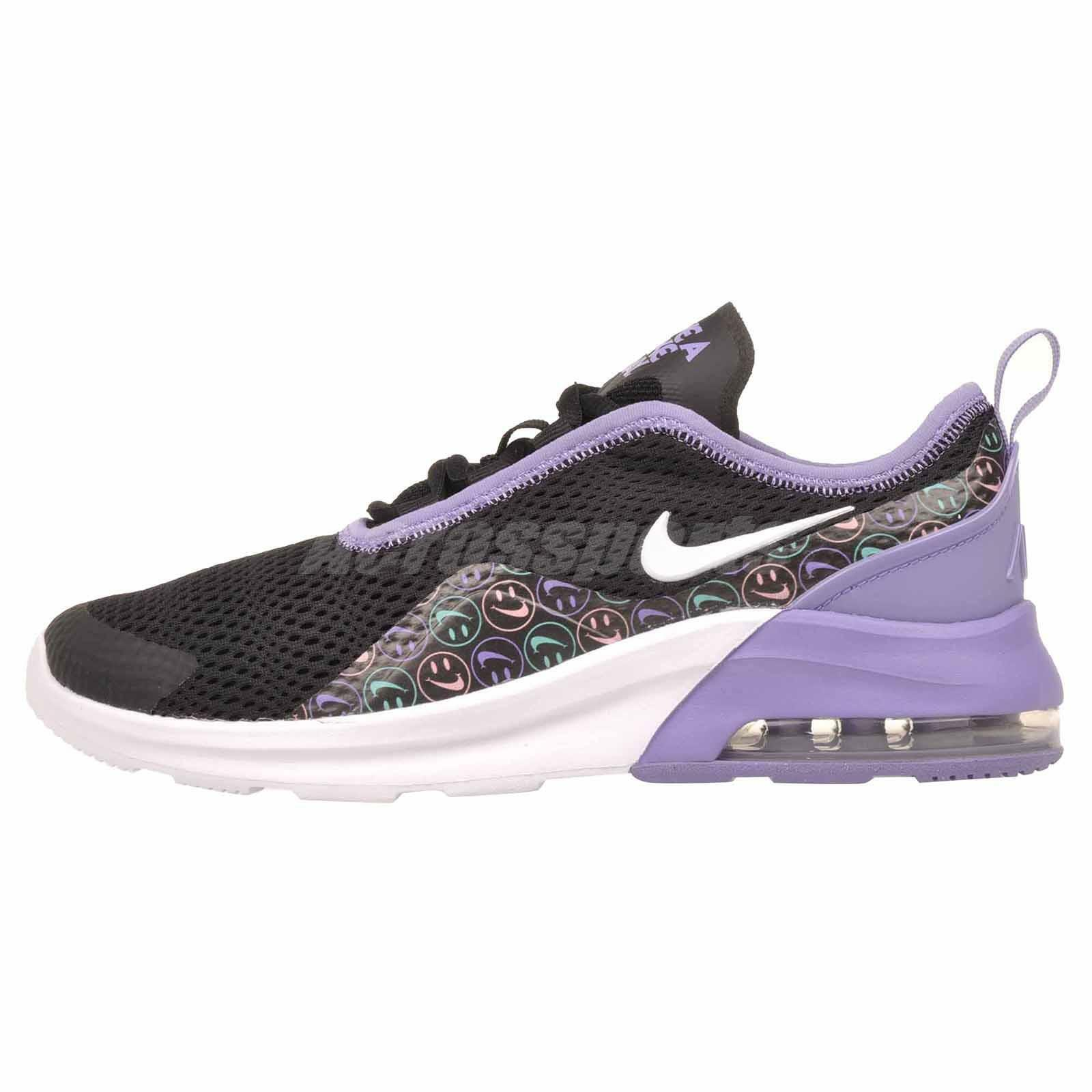 Nike Air Max Motion 2 Print GS Running Kids Youth Shoes Black Purple BQ9024 001