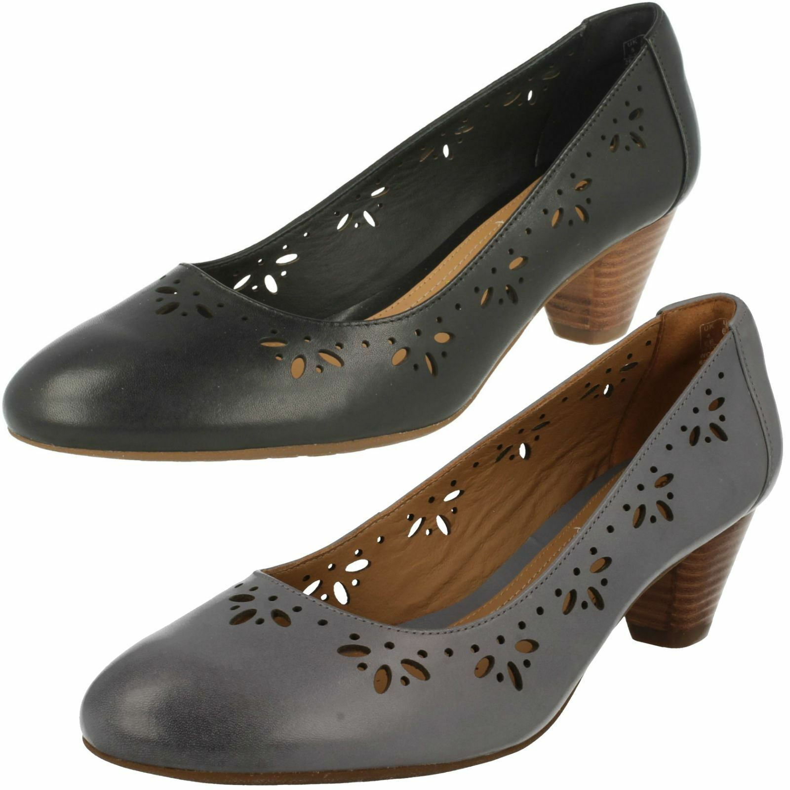 LADIES Clarks Floral Cut Out Mid Heel Court chaussures Denny Dazzle