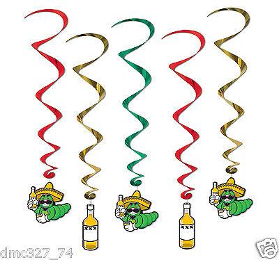 5 FIESTA Cinco de Mayo Party Decoration TEQUILA WORM Hanging WHIRLS Swirls