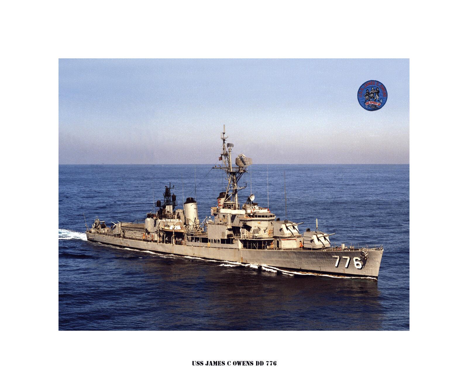 USS JAMES C OWENS DD 776 , US Naval Destroyer,  USN Navy Ship Print