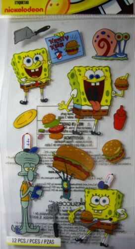NEW 12 pc SPONGEBOB KRABBY PATTY Squidward Gary  NICKELODEON EK SUCCESS Stickers