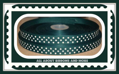 1 yarda 5//8 pulgadas verde oscuro y blanco de grogrén Cinta lunares