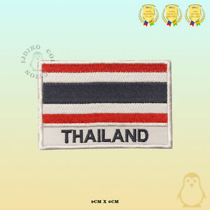 Thailand-National-Flag-With-Name-Embroidered-Iron-On-Sew-On-Patch-Badge