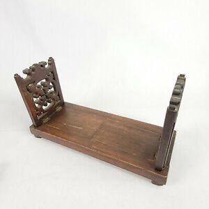 Antique Black Forest Carved Wooden Sliding Book Rack Holder