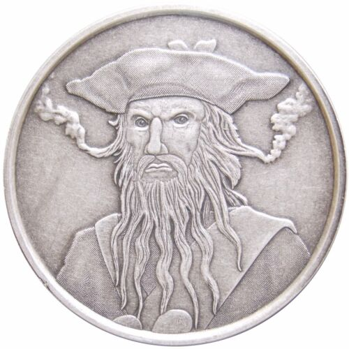 Captain Edward Teach 1 oz .999 Silver Antique Round USA Made Coin Blackbeard