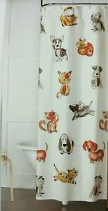 Fabric Shower Curtain 70x72 Dogs Cats