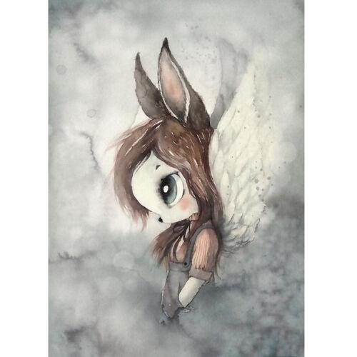 Cartoon Rabbit Girl Poster Wall Art Hand-painted Canvas Painting Kids Room Decor