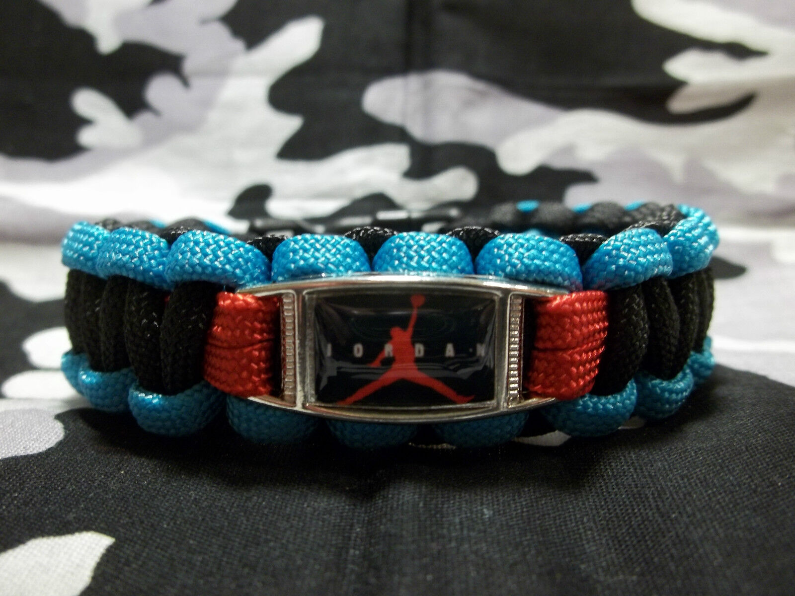 Custom Made AIR JORDAN RETRO Gama 12 Paracord Bracelet GAMMA BLUE BLACK & RED Special limited time