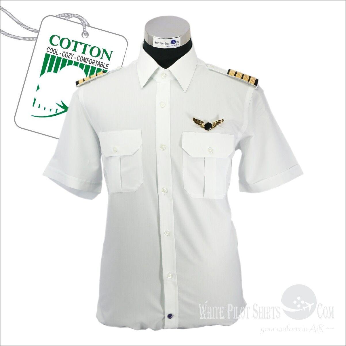 Weiß Pilot Shirts 100% Cotton Aviator Uniformen Airmen Sicherheit Luftfahrt