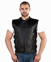 Men's Concealed Carry Leather Vest With Straps - Free Shipping