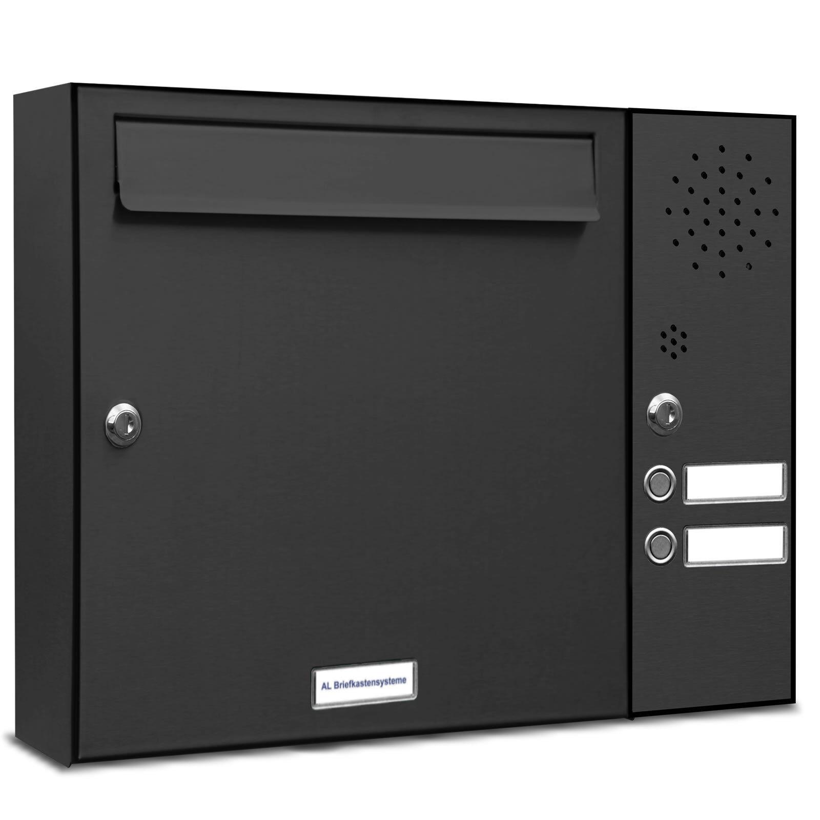 1 er Premium Wand Briefkasten Anlage 2 Klingeln Postkasten RAL 7016 anthrazit A4