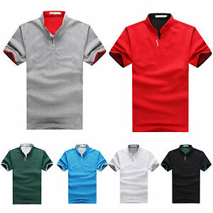 Mens-Summer-Short-Sleeve-Stand-Collar-T-Shirt-Polo-Shirts-Tee-Tops-Blouse-Work