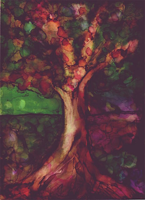 ACEO Fantasy Tree Colorful Art Unique Painting Alcohol Inks by Penny Lee StewArt