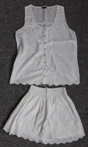 F en coton blanc brodé haut//jupe Set-Taille S Lacy Femmes F