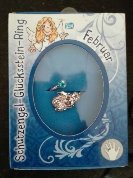 Kinder-ring Schutzengel Glücksstein Ring Geburtsmonat Februar Aquamarin Schmerzen Haben