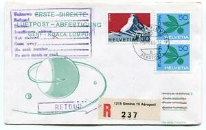 Ffc 1966 Phila Service First Direct Flight Genf Kuala Lumpur Registered Retour Ventes Pas ChèRes 50%