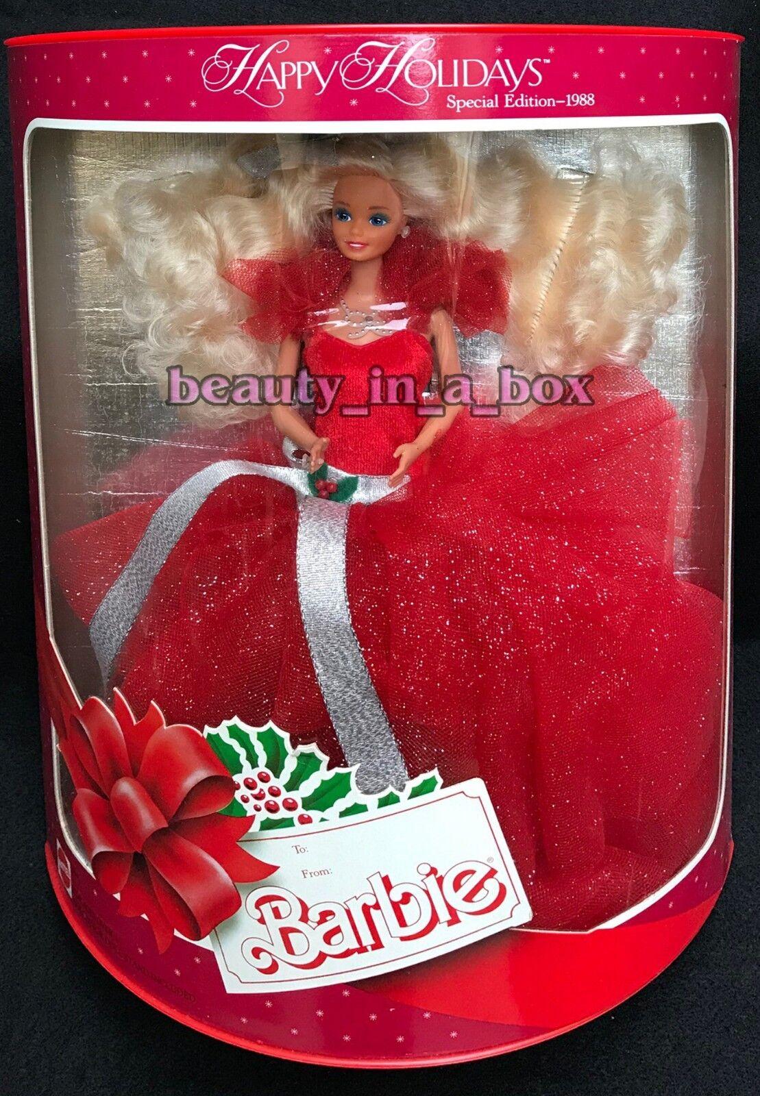 1988 Vacaciones Barbie Muñeca Felices Fiestas Navidad Caja Excelente