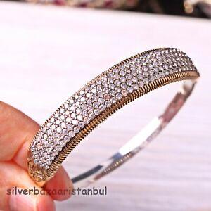 Turkish-Handmade-Jewelry-Sterling-Silver-925-White-Zircon-Bracelet-Bangle-Cuff