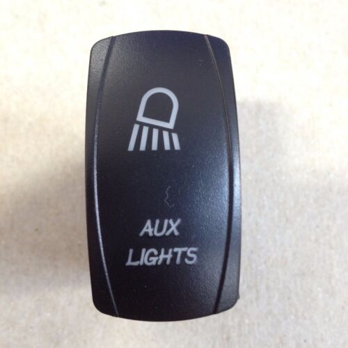 LASER ETCHED 12V LED BACK LIT ROCKER SWITCH Blue AUX Lights Maverick Commander
