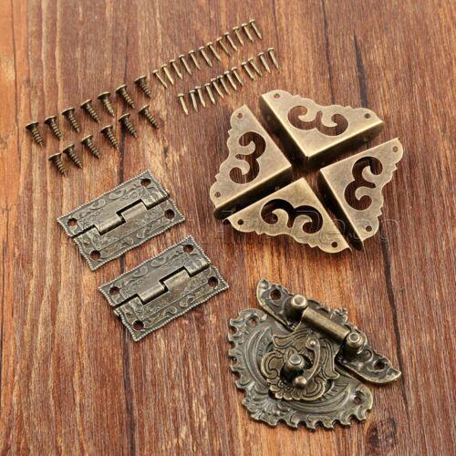 Classic Carved Flower Box Latch Hasp /& 2x Hinges /& Corner Protectors Guard Set