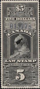 Canada Revenue VD FSC12 used SUPERB $5 Law blue o.print control number *XF*