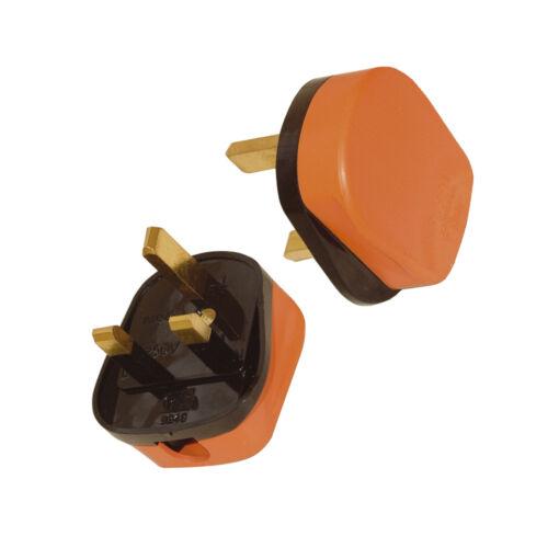 2 x 13 A Hi-Vis Orange Résistant aux chocs Plug 230 V 13 Amp UK