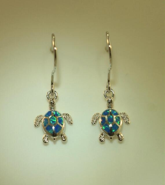 11mm Hawaiian Rhodium STER Silver Inlaid Opal Textured Seahorse Hook Earrings