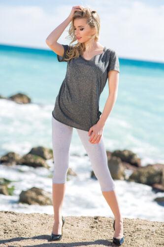 Womens 3//4 Length Leggings Capri Cropped Summer 100/% Genuine Cotton High Quality