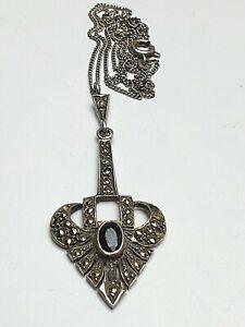 Art-Deco-Anhaenger-925-Silber-Onix-amp-Markasiten-amp-feine-Silberkette-A117