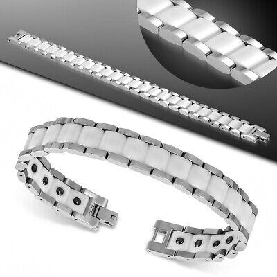 8,9mm Armband Armkette Armschmuck aus Edelstahl mit Keramik 21cm für Herren