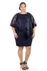 77224e8f51fb9 RM Richards Women s Navy Plus Size Sequin Lace Poncho Party Dress