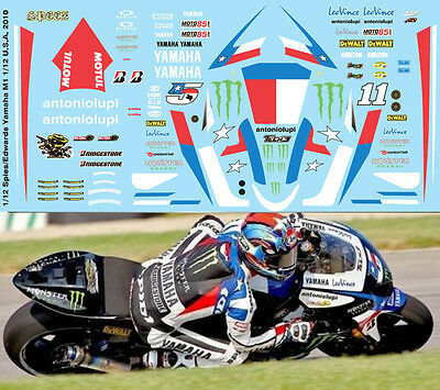 1//12 BEN SPIES COLIN EDWARDS YAMAHA M1 INDIANAPOLIS 2010 DECALS TB DECAL TBD92