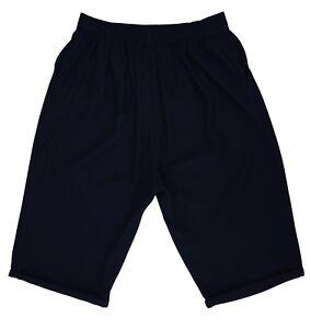 Mujer Tallas Grandes Inteligente Azul Marino Crepe 2 Bolsillo Pantalones Cortos De Gran Altura Bck Elastico En La Cintura Ebay