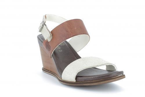 TakeMe Damen Schuhe  Sandale in Leder Silber Cognac mit Echtholzkeil