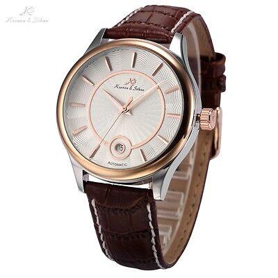 KS Luxury Rose Gold White Date Leather Automatic Mechanical Men Wrist Watch