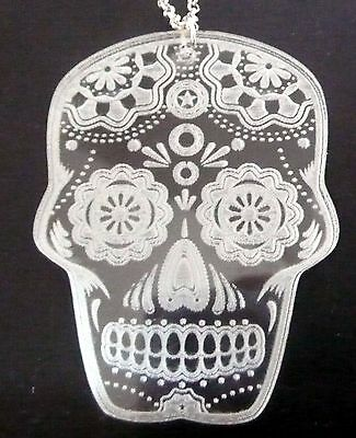 Engraved clear acrylic or mirror Sugar Skull, Dia de los Muertos necklace