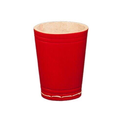 Würfelbecher aus Leder rot 8,5 cm x 6,5 cm ca