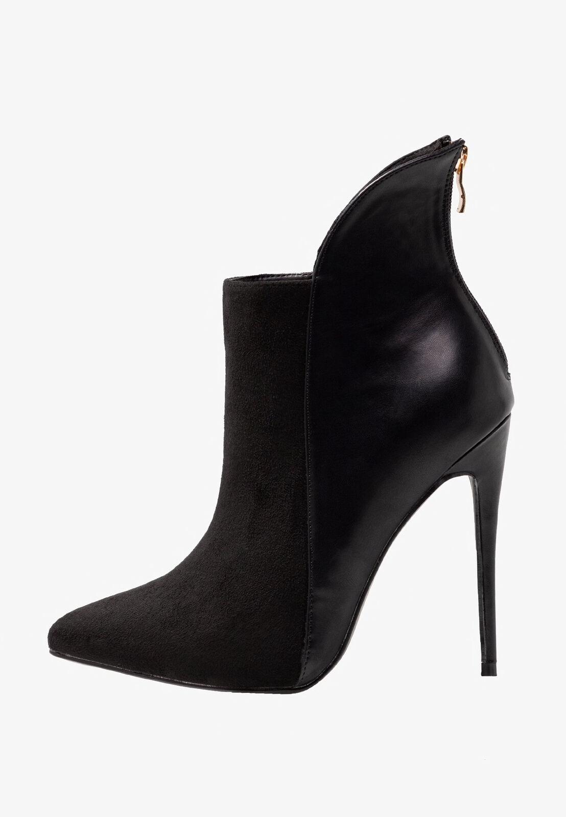 Lost Ink Wide Fit Mimi Back Counter Stilleto-High Heeled Ankle Stiefel UK5 EU38