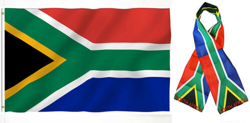 "Wholesale Combo Set South Africa Country 3x5 3'x5' Flag and 8/""x60/"" Scarf"