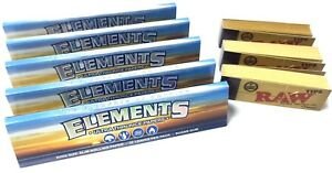5x-Elements-King-Size-Slim-Thin-Rice-Rolling-Rizla-Papers-3x-RAW-Roaches-Tips