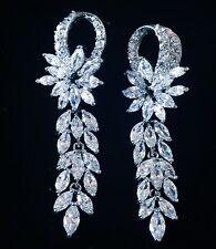 EARRING using Swarovski Crystal Dangle Drop Wedding Bridal Rhodium Silver CZ10
