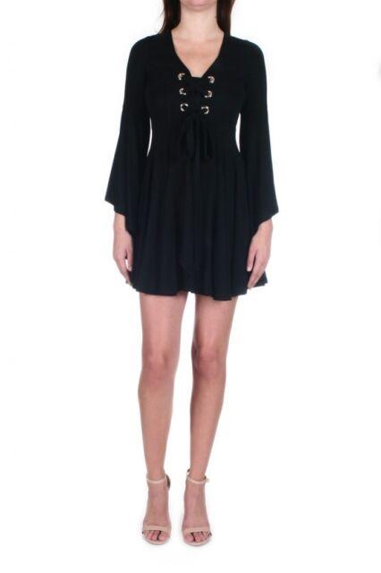 Galia Dress Vava by Joy Han Black NWT Lace Up Front Bell Sleeve Aline Dress $107