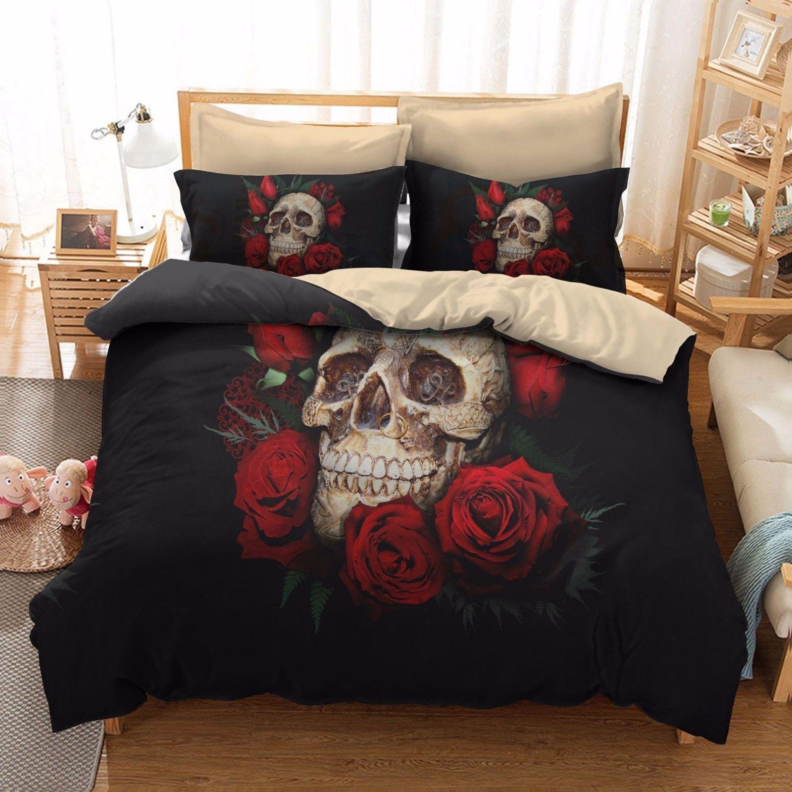 3D Skull pink Bedding Set Duvet Cover Quilt Comforter Set Pillowcases Cover