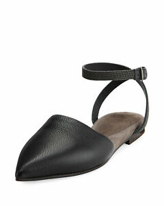 30f5f9f7d New Brunello Cucinelli Leather Monili Bead Pump Ankle Strap Flat EUR ...