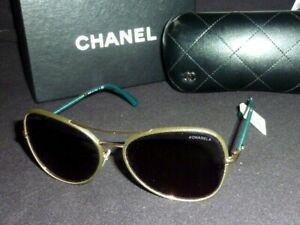 a90990f8c92be CHANEL Aviator Sunglasses Green w  Gold 4227Q 59-16 140 3N New ...