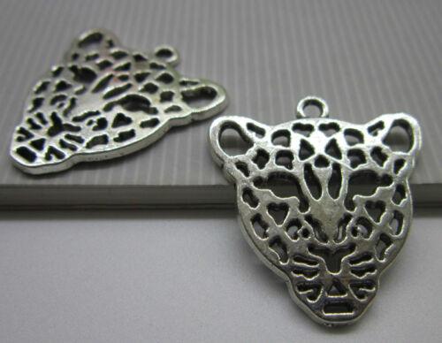 Wholesale 6pcs Retro Style alloy leopard ancient silver charm pendant connector