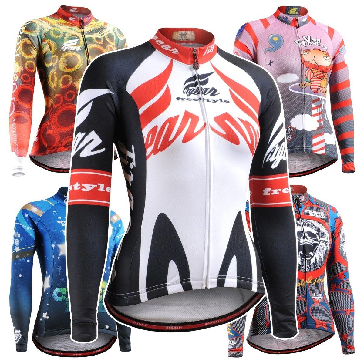 FIXGEAR Women's Cycling Jersey Long Sleeve Series MTB Bike Shirts Bicycle Road