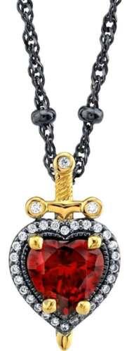 "20/"" Disney Black Sterling Snow White /& The Seven Dwarfs Dagger Heart Necklace"